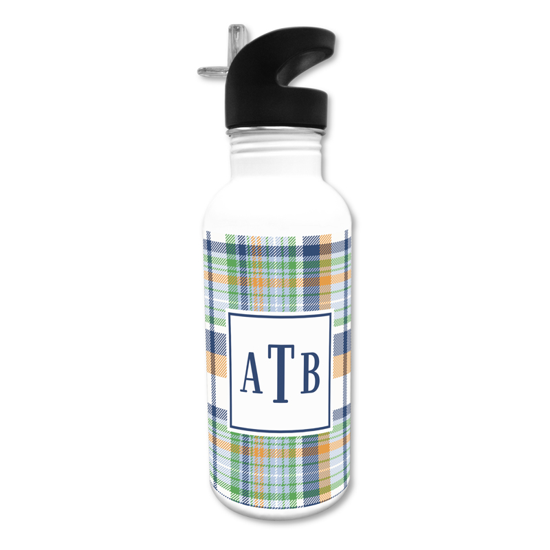 Classic Madras Plaid Navy & Orange 20 oz Water Bottle, Personalized