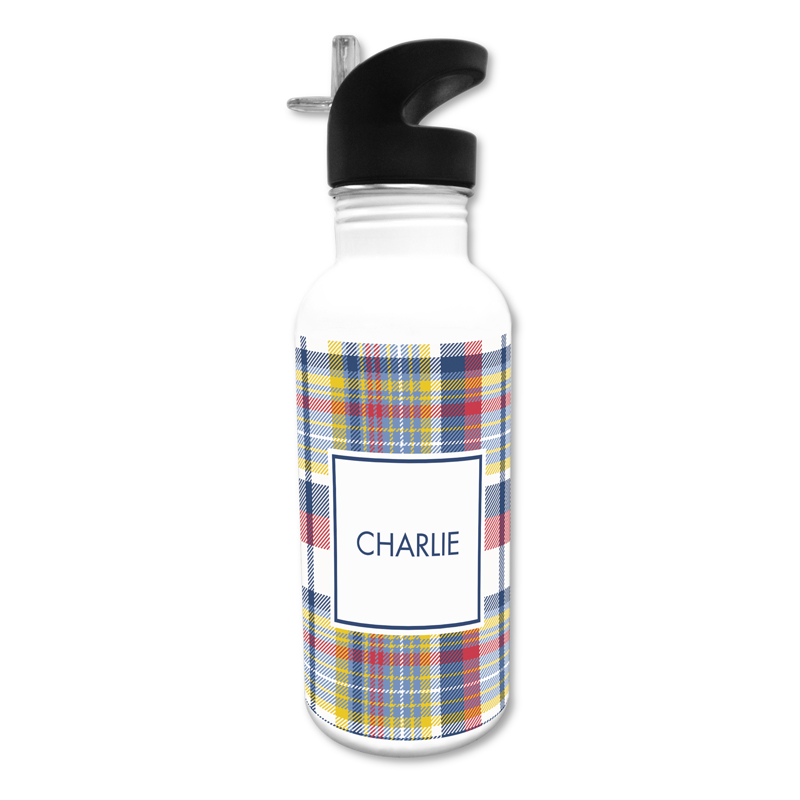 Classic Madras Plaid Navy & Red 20 oz Water Bottle, Personalized