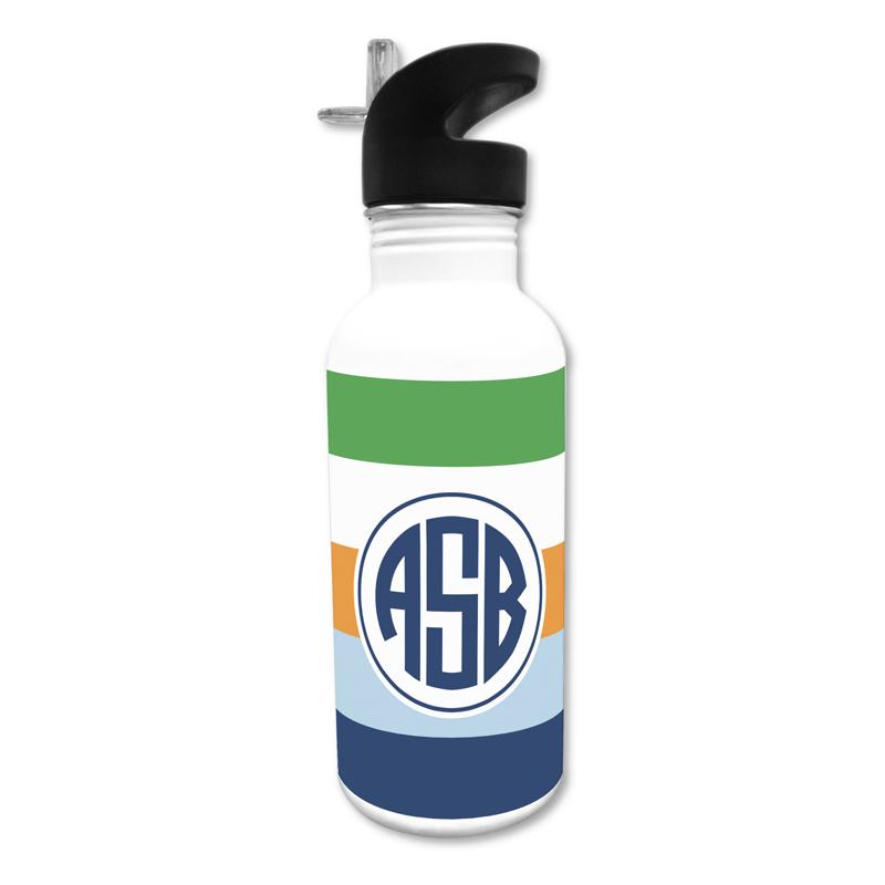 Bold Stripe Navy Orange & Kelly 20 oz Water Bottle, Personalized
