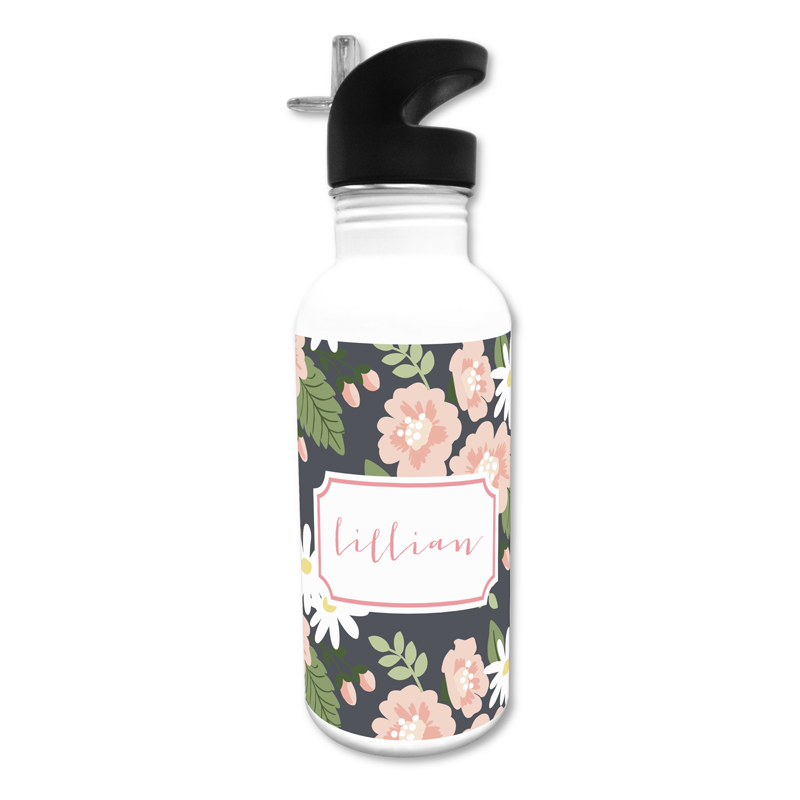 Lillian Floral 20 oz Water Bottle, Personalized