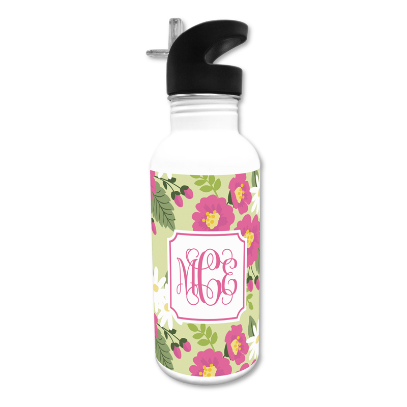 Lillian Floral Bright 20 oz Water Bottle, Personalized