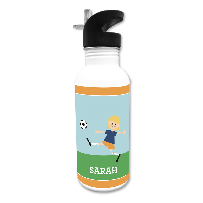 Soccer Player Customized Kid 20 oz Water Bottle, Personalized