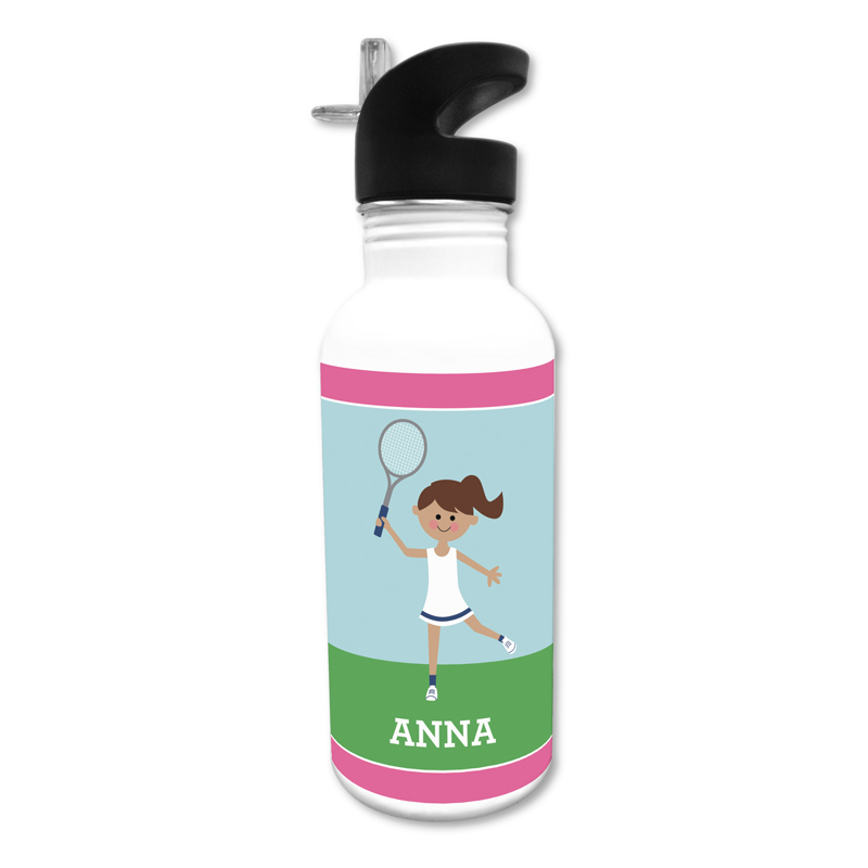 Tennis Player Customized Kid 20 oz Water Bottle, Personalized