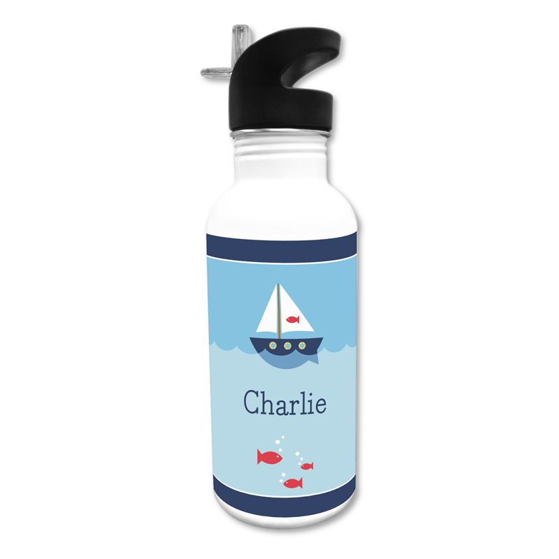 Sailboat 20 oz Water Bottle, Personalized