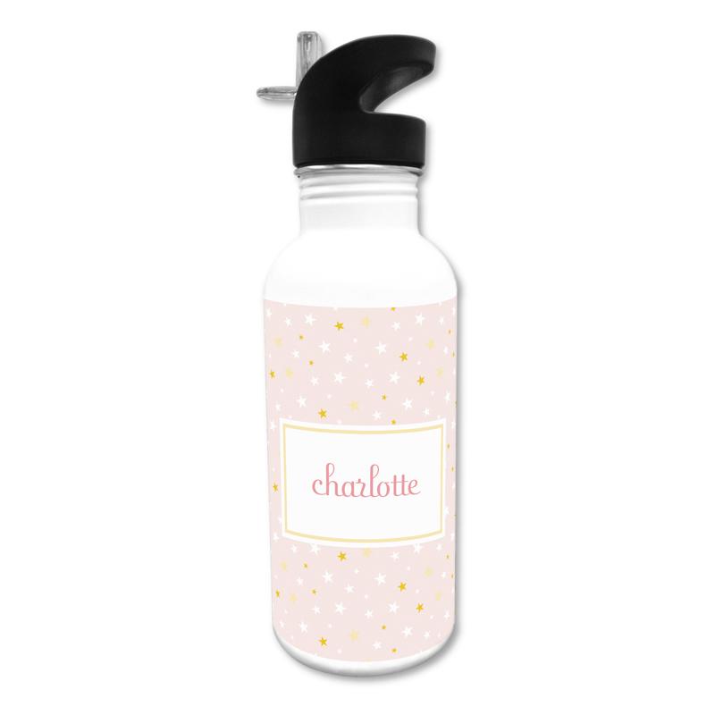 Twinkle Star Pink 20 oz Water Bottle, Personalized