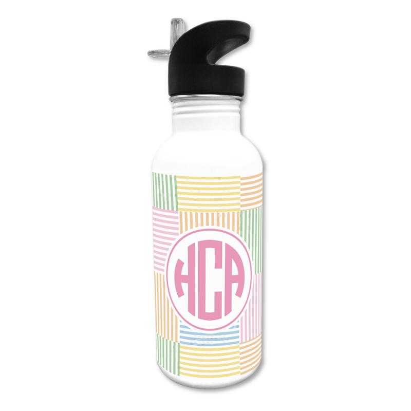 Seersucker Patch Pink 20 oz Water Bottle, Personalized