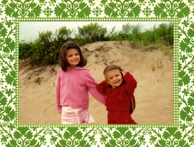 Damask Green Folded Digital Photo Card