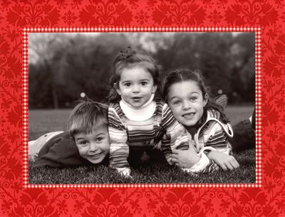 Damask Red Folded Digital Photo Card