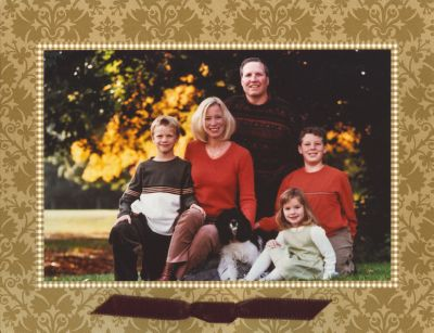 Damask Gold Folded Digital Photo Card