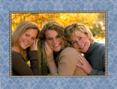 Damask Blue Folded Digital Photo Card
