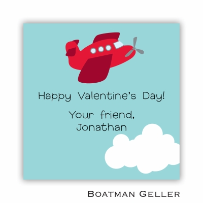 Airplane Red Valentines Day Stickers