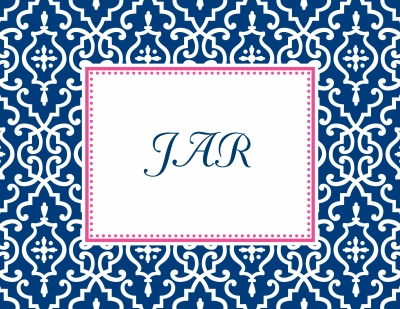 Wrought Iron Navy Stationery Personalized by Boatman Geller