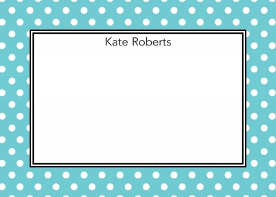 Polka Dot Teal Stationery Personalized by Boatman Geller