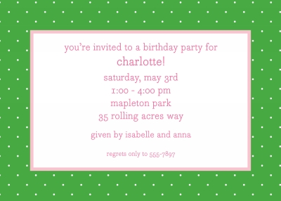 Swiss Dot Kelly Invitation Personalized by Boatman Geller