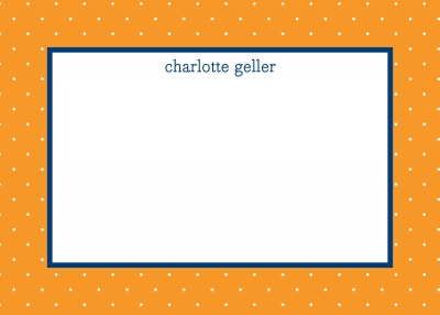 Swiss Dot Tangerine Stationery Personalized by Boatman Geller