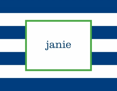 Awning Stripe Navy Stationery Personalized by Boatman Geller