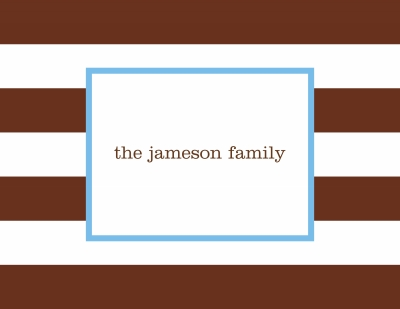 Awning Stripe Chocolate Stationery Personalized by Boatman Geller