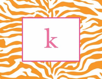 Zebra Tangerine Stationery Personalized by Boatman Geller