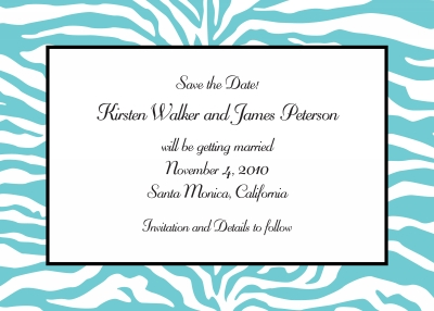 Zebra Teal Save the Date Personalized by Boatman Geller