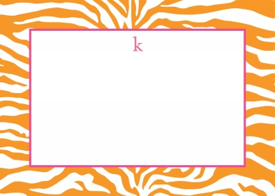 Zebra Tangerine Stationery Personalized by Boatman Geller