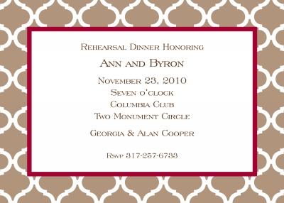 Ann Tile Mocha Invitation Personalized by Boatman Geller