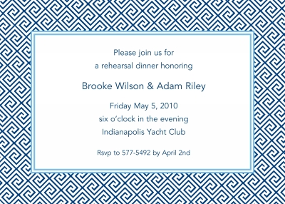 Greek Tile Navy Invitation Personalized by Boatman Geller