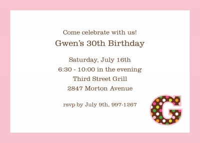 Initial Pattern Confetti Pink Invitation Personalized by Boatman Geller