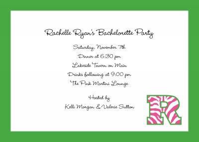 Initial Pattern Zebra Raspberry Invitation Personalized by Boatman Geller