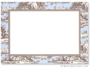 Brown and Blue toile border Stationery Personalized by Boatman Geller
