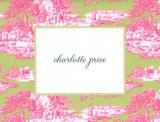 Magenta and Green Toile Foldover Note Personalized by Boatman Geller