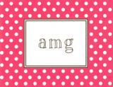 Dark Pink Dot Foldover Note Personalized by Boatman Geller