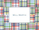 Blue Madras Patch Foldover Note Personalized by Boatman Geller