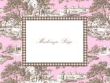 Pink and Brown Toile Foldover Note Personalized by Boatman Geller