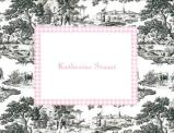 Black Toile and Pink Check Foldover Note Personalized by Boatman Geller