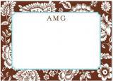 Savannah Brown Flat Note Card Personalized by Boatman Geller