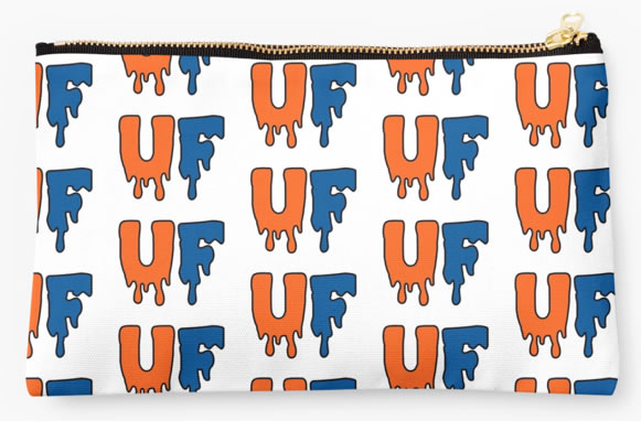 University of Florida Gators Zippered Pouch, Initials Design