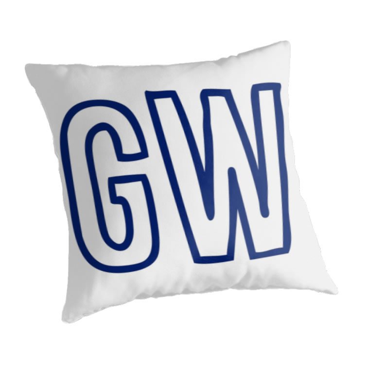George Washington University Colonials Throw Pillow, Initials Design
