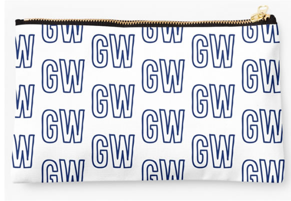 George Washington University Colonials Zippered Pouch, Initials Design