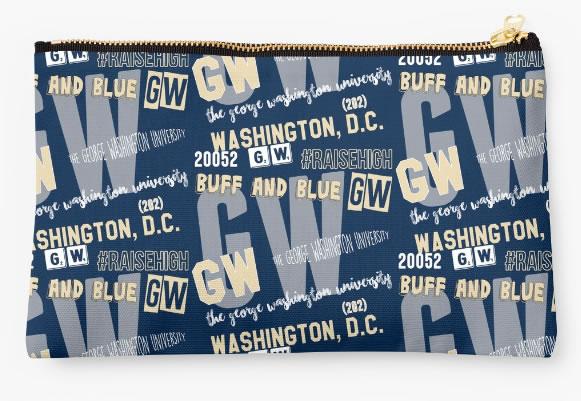 George Washington University Colonials Zippered Pouch, School Spirit Design