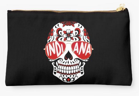 Indiana University Hoosiers Zippered Pouch, Skull Design