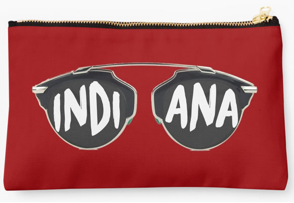 Indiana University Hoosiers Zippered Pouch, Sunglasses Design