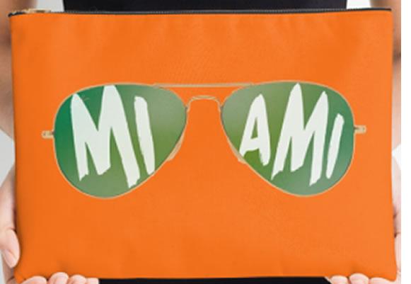 University of Miami Hurricanes Zippered Pouch, Sunglasses Design