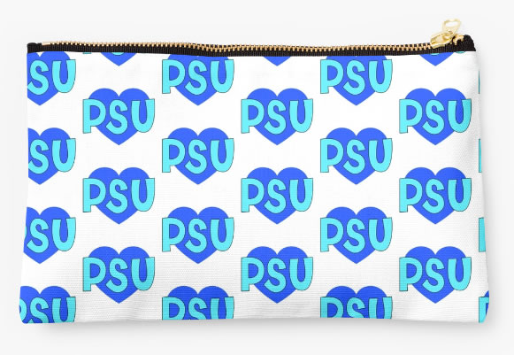 Penn State University Nittany Lions Zippered Pouch, Heart Pattern