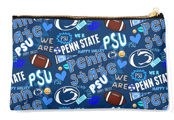 Penn State University Nittany Lions Zippered Pouch, School Spirit Design