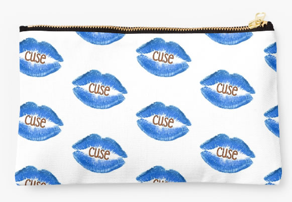 Syracuse University Oranges Zippered Pouch, Lips Design