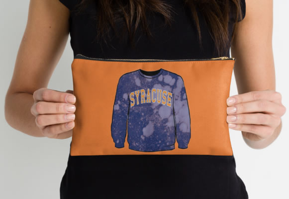 Syracuse University Oranges Zippered Pouch, Sweatshirt Design