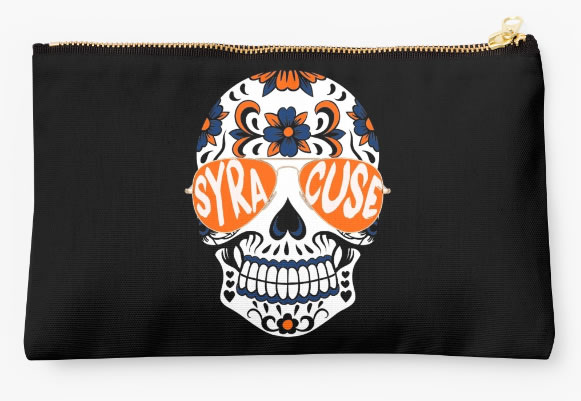 Syracuse University Oranges Zippered Pouch, Skull Design