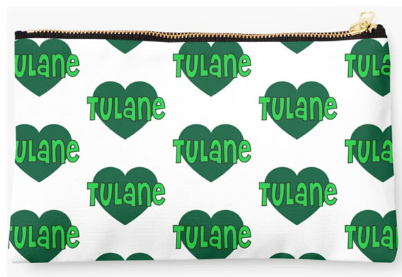 Tulane University Green Waves Zippered Pouch, Heart Design