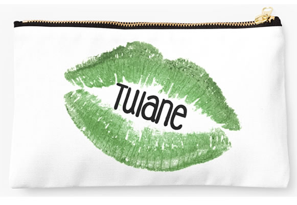 Tulane University Green Waves Zippered Pouch, Lips Design