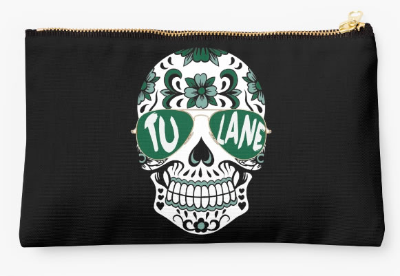 Tulane University Green Waves Zippered Pouch, Skull Design